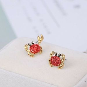 Kate Spade Earrings Pave Gold Shore Thing Red Crab